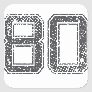 Gray Sports Jersey #80 Square Sticker