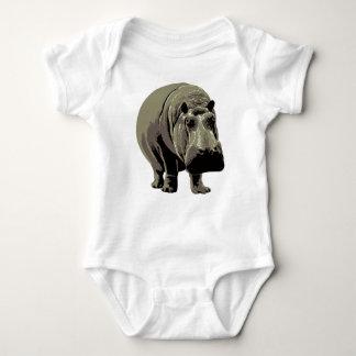 Gray Standing Hippopotamus Baby Bodysuit