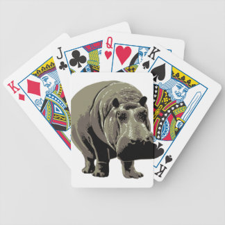 Gray Standing Hippopotamus Bicycle Playing Cards
