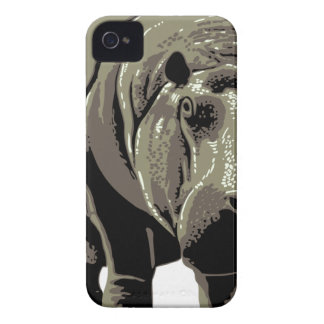Gray Standing Hippopotamus Case-Mate iPhone 4 Cases