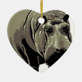 Gray Standing Hippopotamus Ceramic Ornament