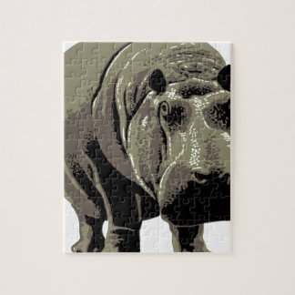 Gray Standing Hippopotamus Jigsaw Puzzle