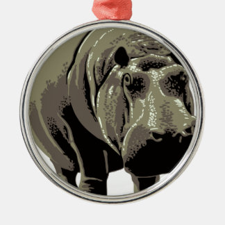 Gray Standing Hippopotamus Metal Ornament