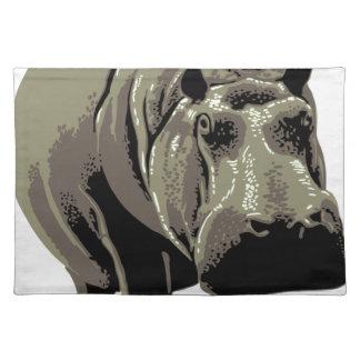 Gray Standing Hippopotamus Placemat