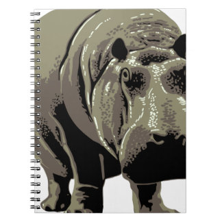 Gray Standing Hippopotamus Spiral Notebook