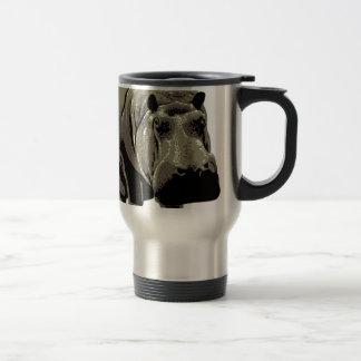 Gray Standing Hippopotamus Travel Mug