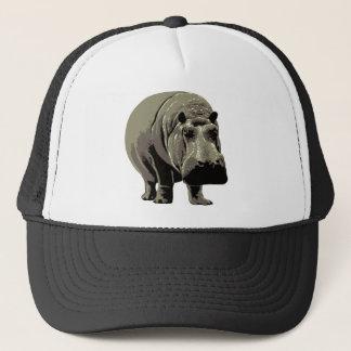 Gray Standing Hippopotamus Trucker Hat