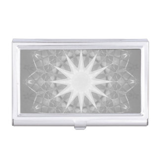 Gray Star Mandala Geometric Pattern Business Card Holder