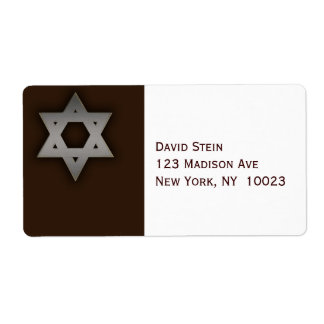 Gray Star of David accent address labels