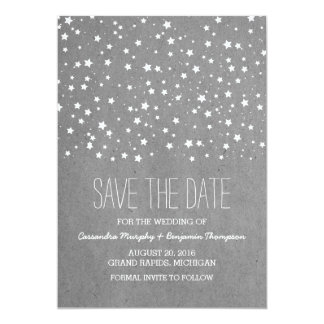 Gray Starry Night Save the Date Invite