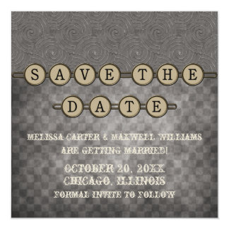 Gray Steampunk Keys Save the Date Invite