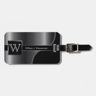 Gray Steel Masculine Monogram Executive Style Luggage Tag