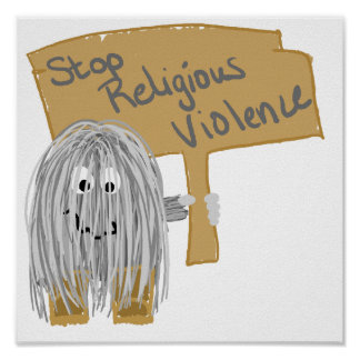 Gray stop religious violence poster