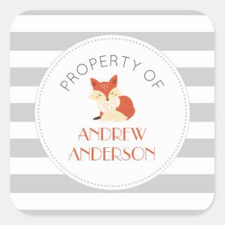 Gray stripe fox BOOK or PROPERTY OF sicker Square Sticker