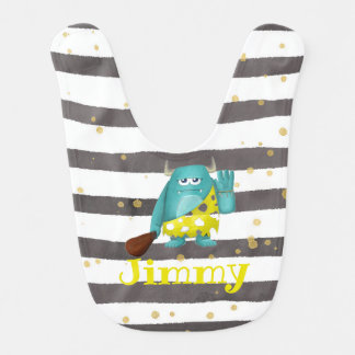Gray Stripe Monster Bib Add a Name or Character