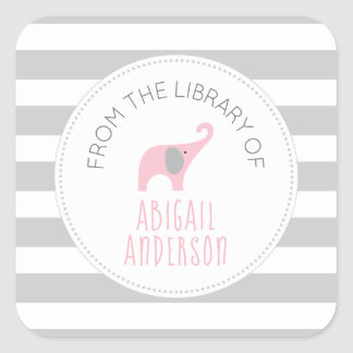 Gray stripe pink elephant BOOK or PROPERTY OF Square Sticker
