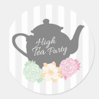 Gray Stripe & Teapot High Tea Sticker