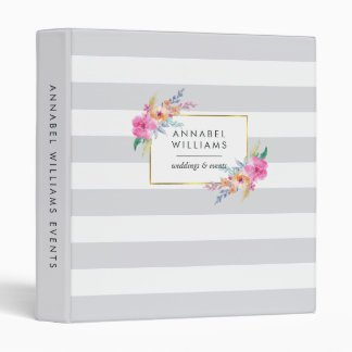Gray Stripe & Tropical Floral Personalized Binders