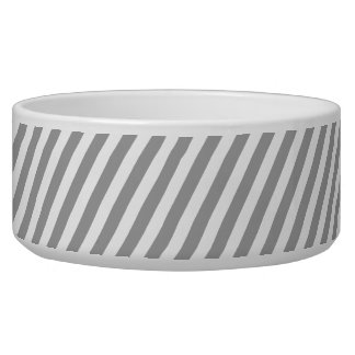 Gray Striped Ceramic Food & Water Dog Bowl