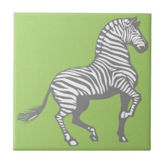Gray Striped Zebra on Neon Green Background Tile