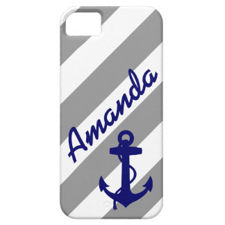 GRAY STRIPES BLUE ANCHOR NAME MONOGRAM iPhone 5 COVERS