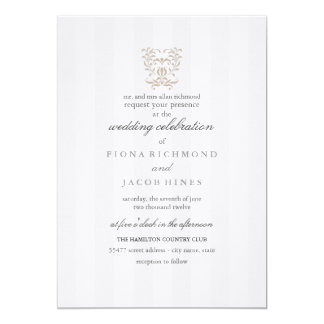 Gray Stripes & Brown Damask Wedding Invitation