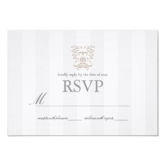 Gray Stripes & Brown Damask Wedding RSVP Card