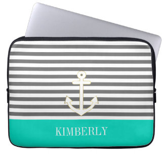 Gray Stripes Nautical Anchor Teal Monogram Laptop Sleeve