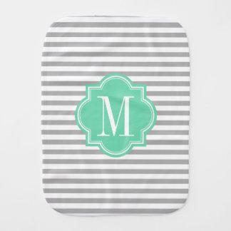 Gray Stripes with Mint Monogram Baby Burp Cloth