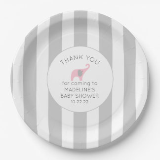 Gray Stripes with pink elephant baby shower decor Paper Plate