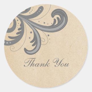 Gray Stylish Swirls Thank You Stickers