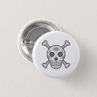 Gray Sugar skull and bones 1 Inch Round Button