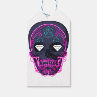 Gray Sugar Skull Gift Tags