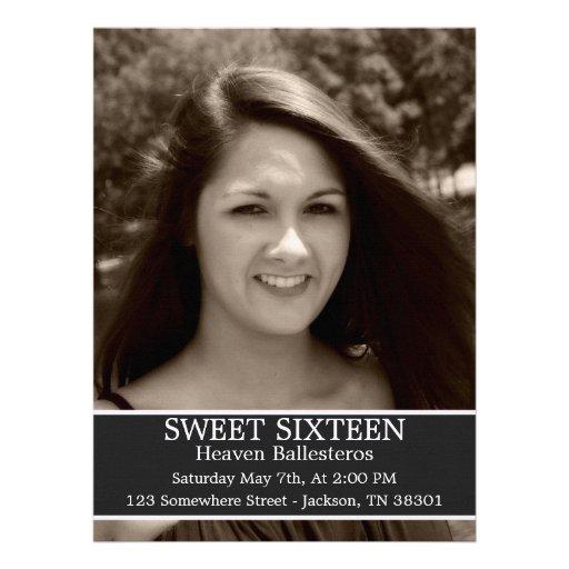 "Gray Sweet Sixteen Birthday Invites 6.5"" x 8.7"