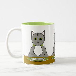Gray Tabbies at Dinner Mug