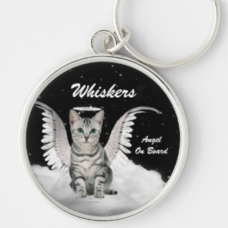 Gray Tabby Angel Cat Sweet Custom Silver-Colored Round Keychain