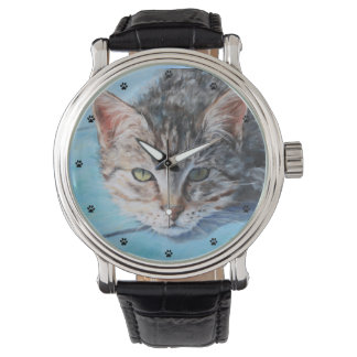 Gray Tabby Cat Fine Art Wrist Watches