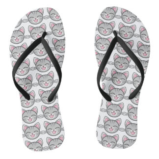 Gray Tabby Cat Flip Flops