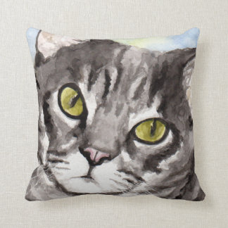 Gray Tabby Cat Gifts Throw Pillow