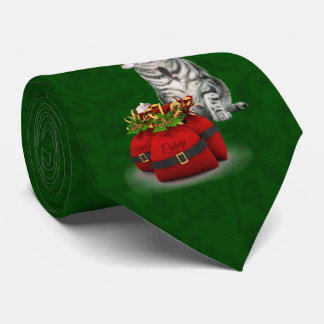 Gray Tabby Cat on Christmas Green Tie
