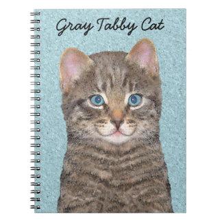 Gray Tabby Cat Painting - Cute Original Cat Art Notebook