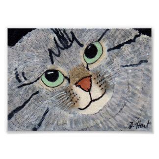 Gray Tabby Cat Portrait Mini Folk Art Poster