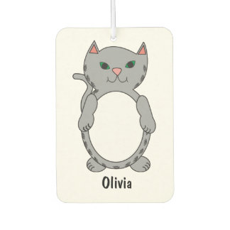 Gray Tabby Kitty Cat Feline Personalize Car Air Freshener