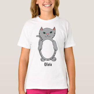 Gray Tabby Kitty Cat Kitten Personalize T-Shirt