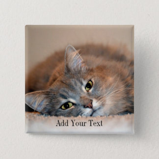 Gray, Tan, White Long-Haired Cat by Shirley Taylor 2 Inch Square Button