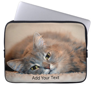 Gray, Tan, White Long-Haired Cat by Shirley Taylor Laptop Sleeve