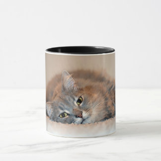 Gray, Tan, White Long-Haired Cat by Shirley Taylor Mug