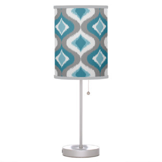 Gray Teal Blue Green Retro Ikat Drops Pattern Table Lamp