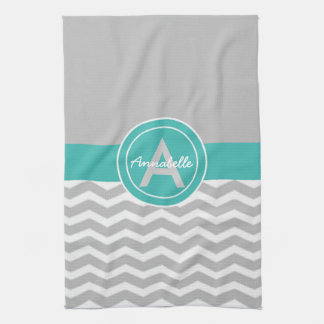 Gray Teal Chevron Kitchen Towel
