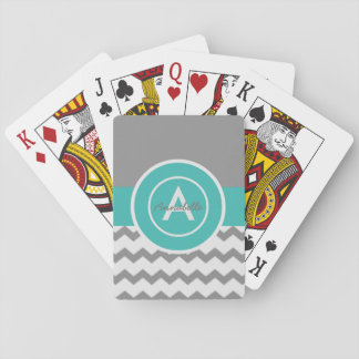 Gray Teal Chevron Playing Cards